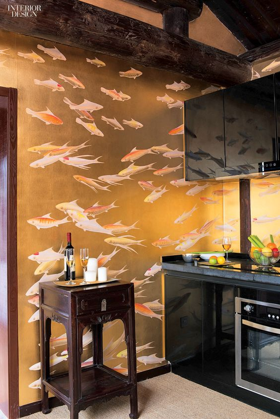 Koi On Gold Gilded Wallpaper From De Gournay